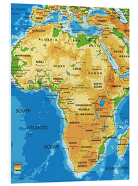 Foam board print  Africa - Topographic Map