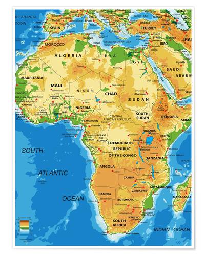 Africa Topographic Map Posters And Prints Posterlounge
