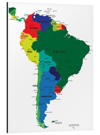 Aluminium print  Map of South America