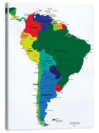 Canvas  South America - Political Map