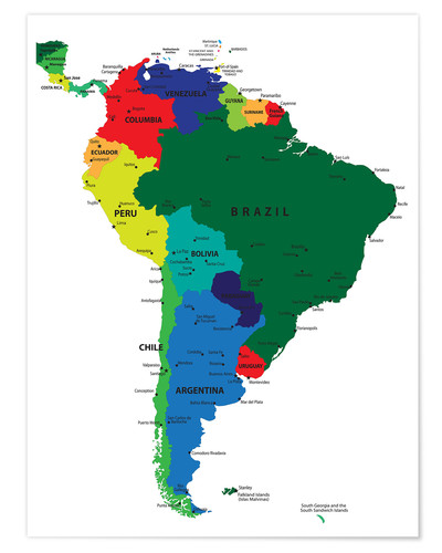 South America Political Map Poster Posterlounge