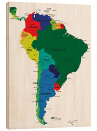 Wood print  South America - Political Map