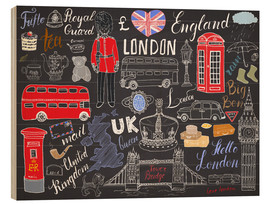 Wood print  London at a glance