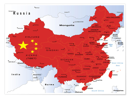 China - Political Map Poster | Posterlounge