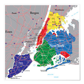 Poster New York City - Political Map