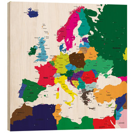 Wood print  Europe - Political Map