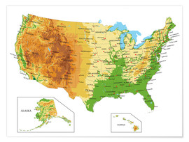 Premium poster Topographic Map of USA