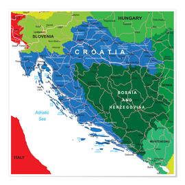 Premium poster Croatia - Political Map