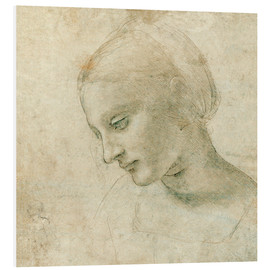 Foam board print  Female head in profile - Leonardo da Vinci