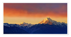 Premium poster New Zealand Mount Cook Sunset