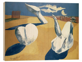 Wood print  Stranded figures into the sunset - Paul Nash