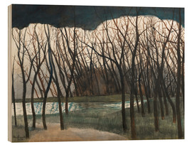 Wood print  Pond Surrounded by Trees, Winter - Léon Spilliaert