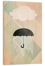 Wood print  Umbrella - Julia Bruch