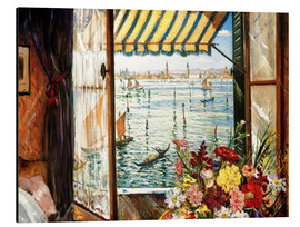 Aluminium print  Looking out a window in Venice - Christopher Nevinson