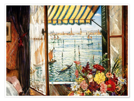 Premium poster  Looking out a window in Venice - Christopher Nevinson