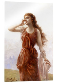 Acrylic print  A young red-clad woman with wistful look - Edouard Bisson