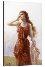 Aluminium print  A young red-clad woman with wistful look - Edouard Bisson