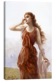 Canvas print  A young red-clad woman with wistful look - Edouard Bisson