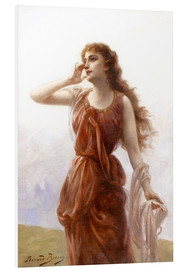 Foam board print  A young red-clad woman with wistful look - Edouard Bisson