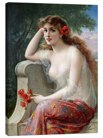 Canvas print  Young Beauty with Poppies - Emile Vernon