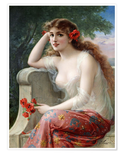 Premium poster Young Beauty with Poppies