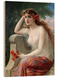Wood print  Young Beauty with Poppies - Emile Vernon