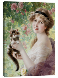 Canvas print  Young girl with a kitten - Emile Vernon