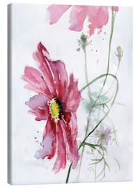 Canvas  Cosmos flower watercolor - Verbrugge Watercolor