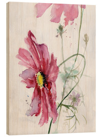 Wood print  Cosmos flower watercolor - Verbrugge Watercolor
