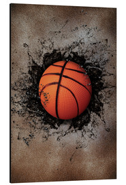 Aluminium print  Stone wall and basketball