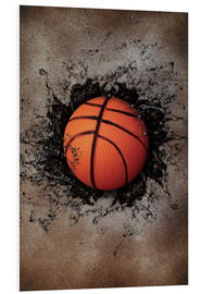 Foam board print  Stone wall and basketball