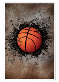 Premium poster Stone wall and basketball