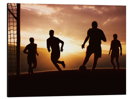 Aluminium print  Football players in front of sunset