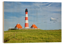 Wood print  Westerhever Lighthouse, North Sea coast