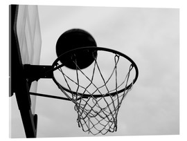 Acrylic print  A view of a basketball hoop from below