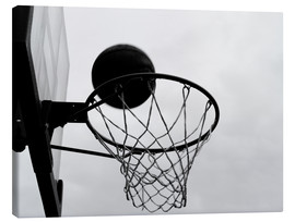 Canvas print  A view of a basketball basket from below