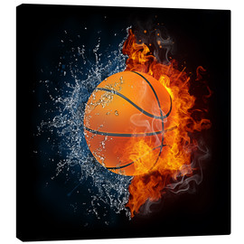 Canvas print  Basketball in the battle of the elements