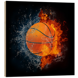 Wood print  Basketball in the battle of the elements