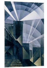 Foam board print  The First Searchlights at Charing Cross - Christopher Nevinson