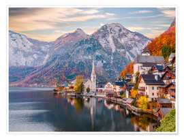 Premium poster Hallstatt, Austria in the Autumn