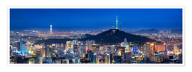 Premium poster  Seoul panorama at night overlooking Namsan and N Seoul Tower - Jan Christopher Becke