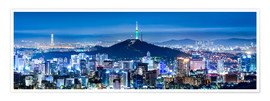 Premium poster Seoul panorama at night overlooking Namsan and N Seoul Tower