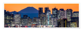 Premium poster Tokyo skyline panorama at night with Mount Fuji in the background