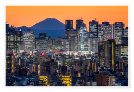 Premium poster Tokyo skyline at night with Mount Fuji in the background