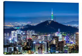 Canvas  View of the skyline of Seoul with Namsan Mountain and N Seoul Tower - Jan Christopher Becke