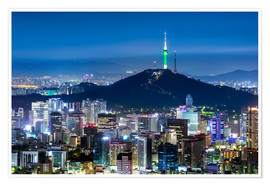 Premium poster View of the skyline of Seoul with Namsan Mountain and N Seoul Tower