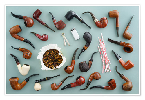 Premium poster Collection of smoking pipes