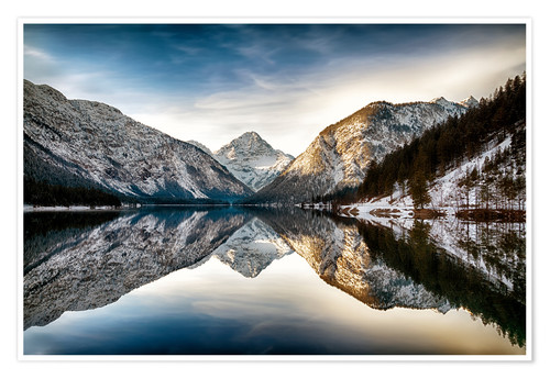 Premium poster Lake Plan at wintertime, Austria
