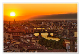 Premium poster Florence at sunset, Italy