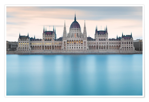 Premium poster Hungarian Parliament with Danube, Budapest